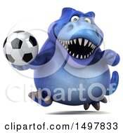 3d Blue T Rex Dinosaur Holding A Soccer Ball On A White Background