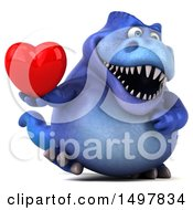 3d Blue T Rex Dinosaur Holding A Heart On A White Background