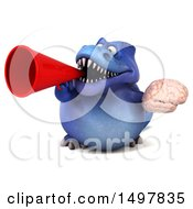 3d Blue T Rex Dinosaur Holding A Brain On A White Background