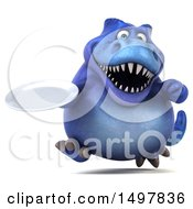3d Blue T Rex Dinosaur Holding A Plate On A White Background