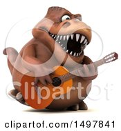 3d Brown T Rex Dinosaur Playing A Guitar On A White Background