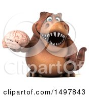 3d Brown T Rex Dinosaur Holding A Brain On A White Background