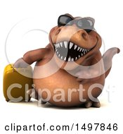 3d Brown T Rex Dinosaur With A Suitcase On A White Background
