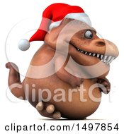 3d Brown Christmas T Rex Dinosaur On A White Background