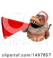 3d Brown Christmas T Rex Dinosaur Using A Megaphone On A White Background