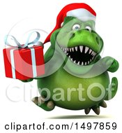 3d Green Christmas T Rex Dinosaur Holding A Gift On A White Background