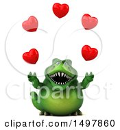 3d Green T Rex Dinosaur Juggling Hearts On A White Background