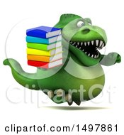 3d Green T Rex Dinosaur Holding Books On A White Background
