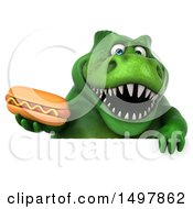 3d Green T Rex Dinosaur Holding A Hot Dog On A White Background