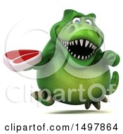 3d Green T Rex Dinosaur Holding A Steak On A White Background