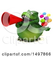 3d Green T Rex Dinosaur Holding Messages On A White Background