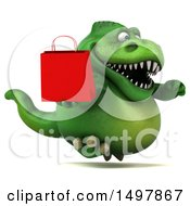 3d Green T Rex Dinosaur Holding A Shopping Bag On A White Background