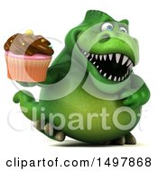 3d Green T Rex Dinosaur Holding A Cupcake On A White Background