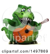3d Green T Rex Dinosaur Holding A Guitar On A White Background