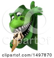 3d Green T Rex Dinosaur Eating An Ice Cream Cone On A White Background