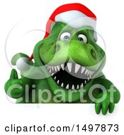 3d Green Christmas T Rex Dinosaur Giving A Thumb Up On A White Background