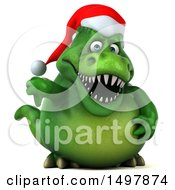 3d Green Christmas T Rex Dinosaur Giving A Thumb Down On A White Background