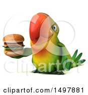 Clipart Of A 3d Green Macaw Parrot Holding A Burger On A White Background Royalty Free Illustration