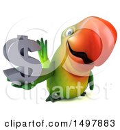 Clipart Of A 3d Green Macaw Parrot Holding A Dollar Symbol On A White Background Royalty Free Illustration