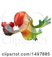 Clipart Of A 3d Green Macaw Parrot Holding An Alarm Clock On A White Background Royalty Free Illustration