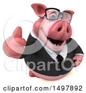 3d Chubby Business Pig Giving A Thumb Up On A White Background