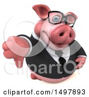 3d Chubby Business Pig Giving A Thumb Down On A White Background