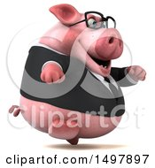 3d Chubby Business Pig Running On A White Background