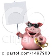 3d Chubby Pig Holding A Sign And Trumpet On A White Background