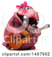 3d Pink Henrietta Hippo Playing A Guitar On A White Background