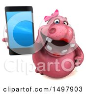 3d Pink Henrietta Hippo Holding Up A Smart Phone On A White Background