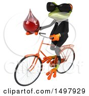 Clipart Of A 3d Green Business Frog Holding A Blood Drop On A Bicycle On A White Background Royalty Free Illustration