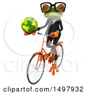 3d Green Business Frog Holding A Globe On A Bicycle On A White Background
