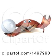 3d Crab Holding A Golf Ball On A White Background