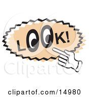 Vintage Sign Showing A Hand Pointing To The Word Look With Eyes In The Os Clipart Illustration by Andy Nortnik