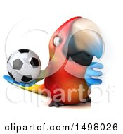 3d Scarlet Macaw Parrot Holding A Soccer Ball On A White Background