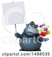 3d Gorilla Holding Messages On A White Background