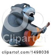 Clipart Of A 3d Gorilla Holding A Guitar On A White Background Royalty Free Illustration