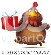 3d Chubby Brown Chicken Holding A Gift On A White Background