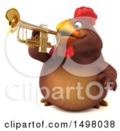 3d Chubby Brown Chicken Playing A Trumpet On A White Background