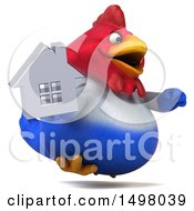 3d Chubby French Chicken Holding A House On A White Background