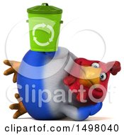 3d Chubby French Chicken Holding A Recycle Bin On A White Background