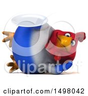 3d Chubby French Chicken Holding A Plate On A White Background