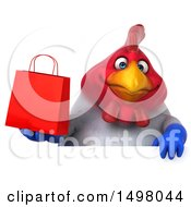 3d Chubby French Chicken Holding A Shopping Bag On A White Background