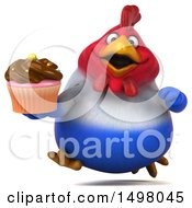 3d Chubby French Chicken Holding A Cupcake On A White Background