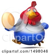 3d Chubby French Chicken Holding An Egg On A White Background