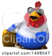 3d Chubby French Chicken With A Suitcase On A White Background