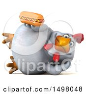 3d Chubby White Chicken Holding A Hot Dog On A White Background