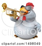 3d Chubby White Chicken Playing A Trumpet On A White Background