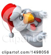 3d Chubby White Christmas Chicken On A White Background