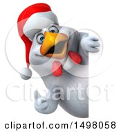 3d Chubby White Christmas Chicken Holding A Thumb Up On A White Background